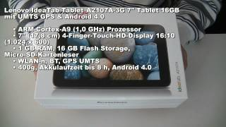 Lenovo Ideatab A2107A unboxing