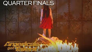 The Sacred Riana Magician Scales Wall Summons Terrifying Look Alikes America 39 S Got Talent 2018