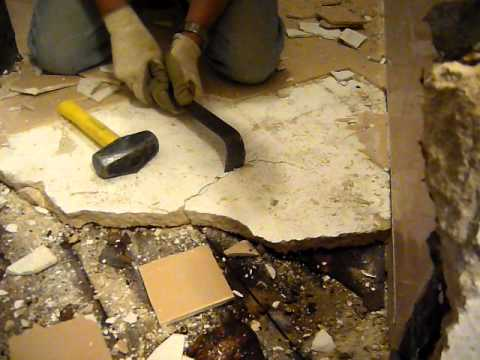 Demo Tile Floor In Old Bathroom Youtube