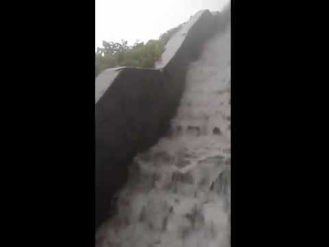 Rain water flowing from Girnar hill steps