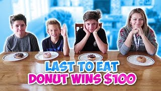 LAST TO EAT THE DONUT WINS $100 | THE LEROYS