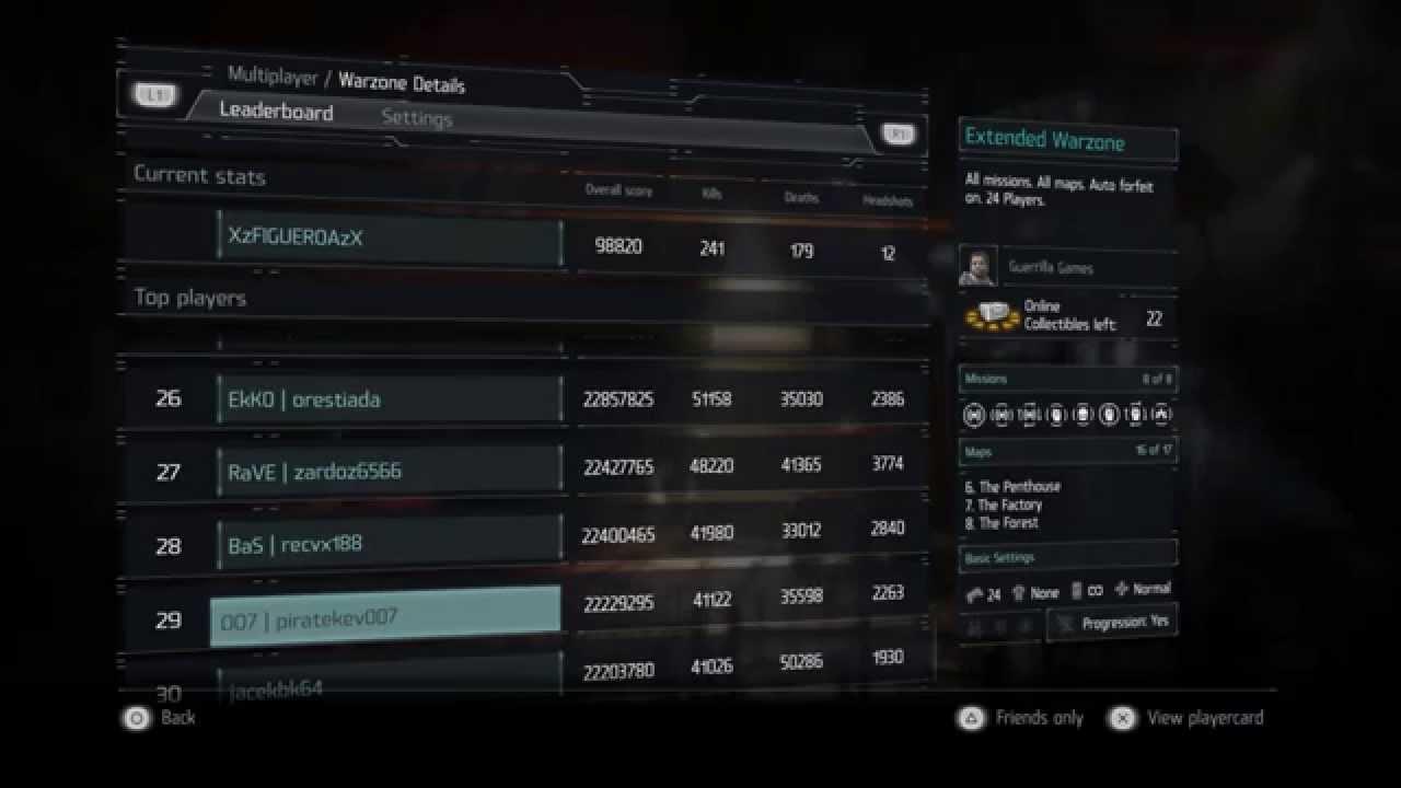 KILLZONE™ SHADOW FALL Leaderboards PS4 - YouTube | 1280 x 720 jpeg 46kB
