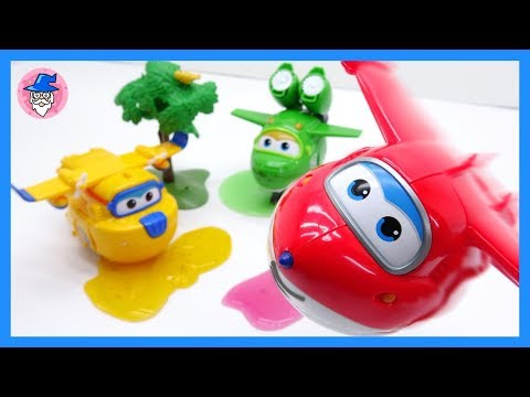 Super Wings Robot, Learn Colors with color slime, robot suit, plane toys