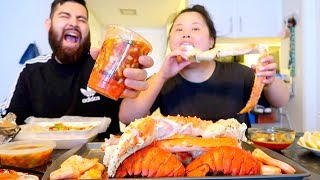 MUKBANG SEAFOOD BOIL! 먹방 (EATING SHOW!) KING CRAB + CEVICHE + SHRIMP (HOMEMADE)