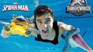 Jurassic World Spider Man Submarine Underwater Mosasaurus Rescue !    Toy Review    Konas2002