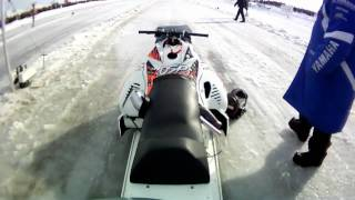 Take a ride on a OSP outlaw Turbo Snowmobile 4.46 @ 156mph