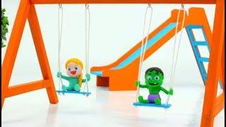 Superhero Babies In The Playground w Frozen Elsa, Hulk, Spiderman Play Doh Cartoons Stop Motion