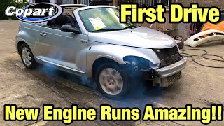 Rebuilding a Totaled wrecked Pt Cruiser Part 5 from copart First Time Driving at 14 years old
