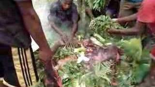 hot stone cooking (The Yali Tribe)