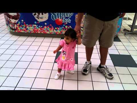 Scarlett walking through the mall