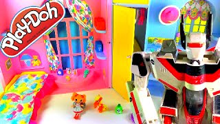 PLAY DOH SURPRISE EGG BARBIE HOUSE! - Kinder Egg Shopkins Season 2 MLP Lalaloopsy Transformers