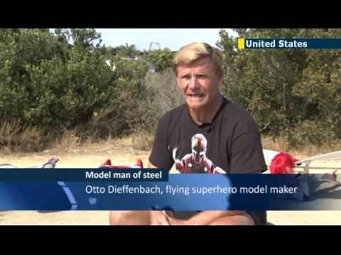 Flying model Superman: Remote-controlled life-size Superman takes to the skies above California