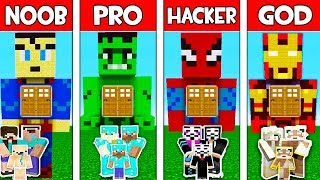 Minecraft: SUPERHERO FAMILY HOUSE - NOOB vs PRO vs HACKER vs GOD in Minecraft Animation