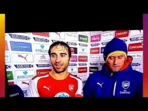 Mathieu Flamini awkwardly forced to pass Man of the Match award to Alexis Sanchez