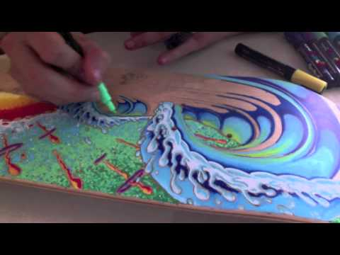 Painting a Skateboard With Posca Paint Pens - 2011