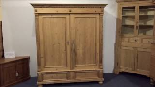 Charming Antique Wardrobe with Intricate Top - Pinefinders Old Pine Furniture Warehouse