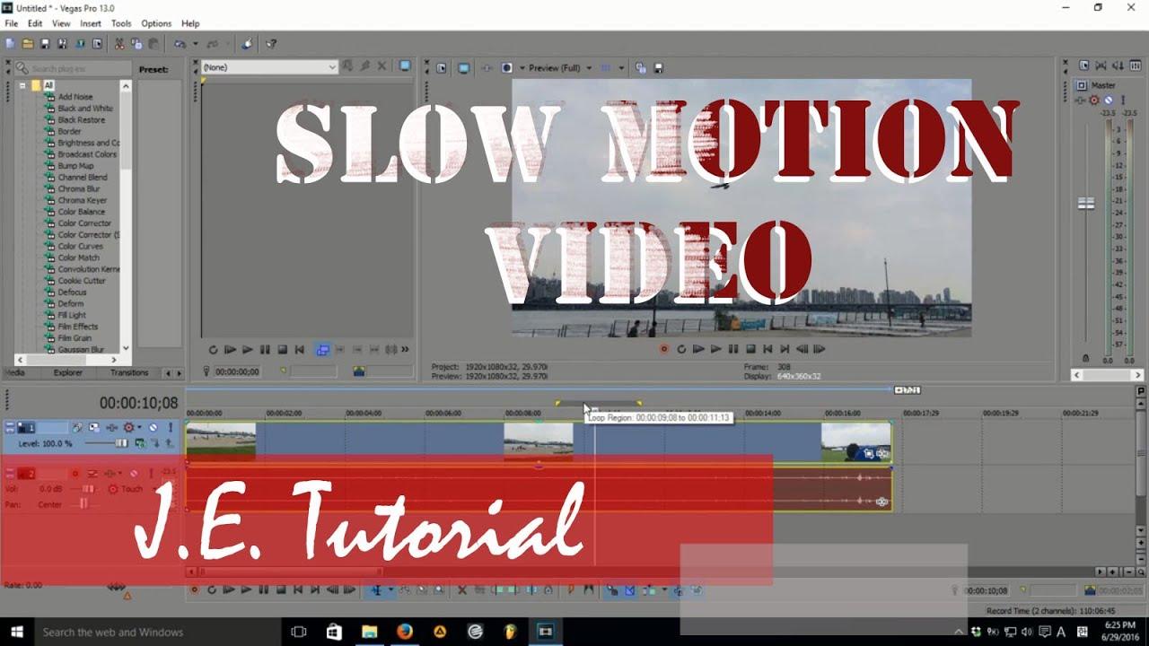 Как в sony vegas сделать slow motion в