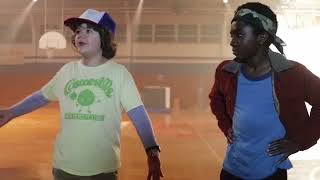Gaten Matarazzo and Caleb McLaughlin on the set of Stranger Things season 1 interview