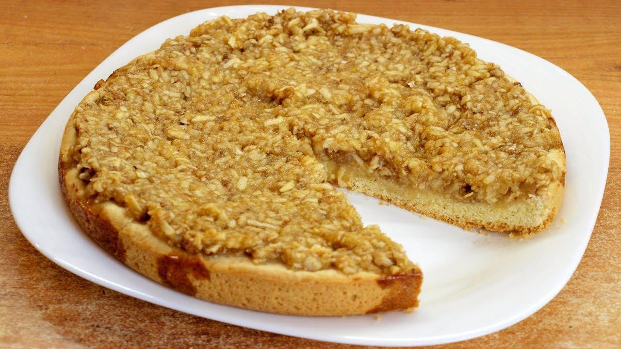 Ореховый пирог с яблоками - сочный и хрустящий