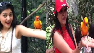 Sakka Podu Podu Raja Actress Vaibhavi Shandilya & Nisha Ganesh with Bird    Cute Video