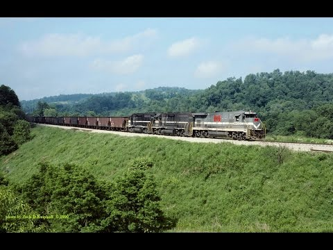 GP38's and GE Super-7R on the Monongahela RWY on a coal train with mixed hoppers. 5/15/1990...