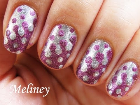 Easy Nail Art Tutorial - Retro Dots Inverse Merging Drip Nails Design for Short Nails