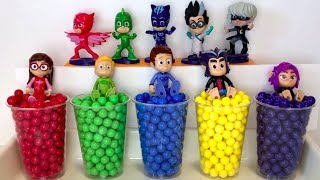 Pj Masks Wrong Heads Toys - Learn Colors with colorful Beads Surprise Pj Masks Tayo Garage Toys