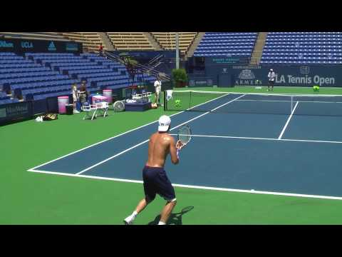 07 26 09 Tommy Haas practicing backhand at 2009 LA tennis Open with his coach Video