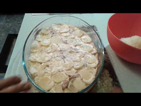 куриное филе с кабачками,луком и картофелем из духовки