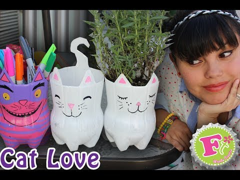 DIY: Cat Lover! Maceta y/o Portalapices Ecológicos //  Kitty from plastic bottl