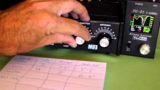 MFJ945E Quick Band Change Tuning Chart.