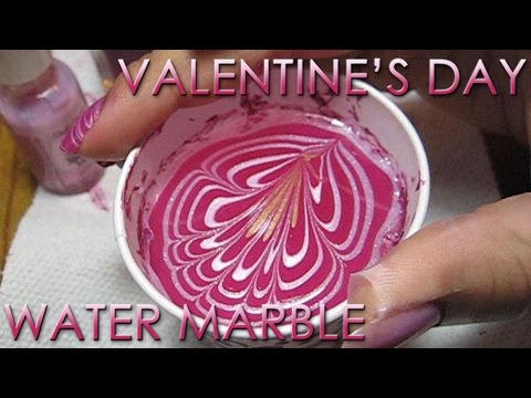 Valentine's Day Water Marble Nail Art Tutorial