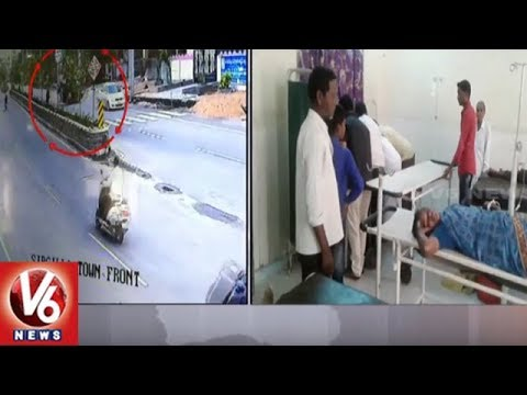 Caught On Camera | 2 Severely Injured As Auto Over Turns In Rajanna Sircilla Dist | V6 News