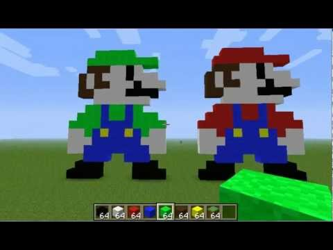 Minecraft Pixel Art tutorial: Mario & Luigi