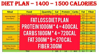 Free Fat loss Diet Plan 1400-1500 Calories - Its good to Start