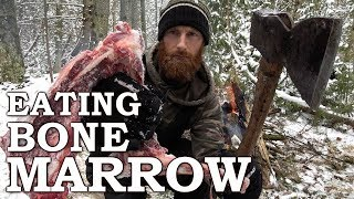 Eating BONE MARROW like CAVEMAN in the FOREST   100-YEAR-OLD AXE!!!   Bow Drill Fire From Scratch