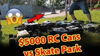 ep2 $5000 RC Cars VS Skatepark EpIC BaSh - Traxxas X-Maxx E-Revo HPI Savage FLUX