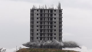 In Russia, building blasts you: High-rise demolition fail caught on camera