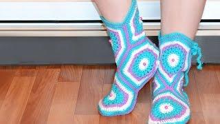 Мастер-класс по вязанию тапочек-сапожек крючком. How to crochet home slippers, boots