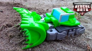 Transformers Rescue Bots Toy UNBOXING: Bulldozer Boulder Construction-Bot digging