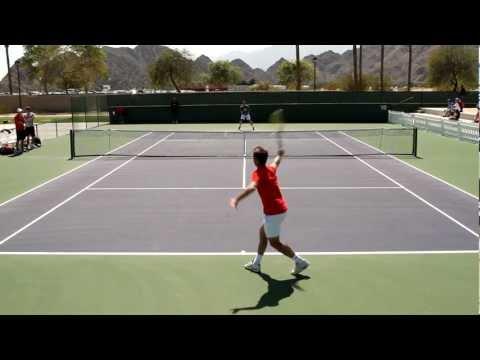 Andy Murray and Richard Gasquet Play A Practice Set 2012 BNP Paribas Open