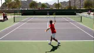 Andy Murray and Richard Gasquet Play A Practice Set 2012 BNP Paribas Open