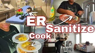 9 KIDS WITH THE FLU! COOK & SANITIZE WITH ME