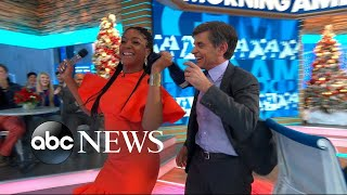 Tiffany Haddish thanks her bullies for making her rich, forces George Stephanopoulos to dance