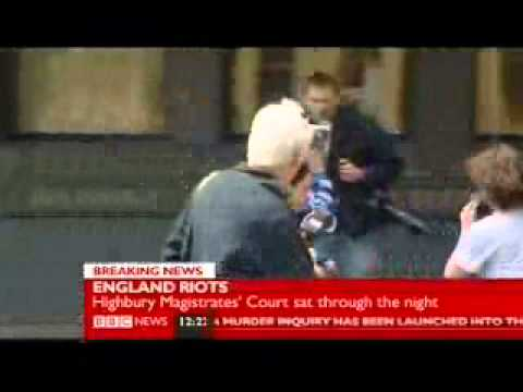 London riots - looter Alexis Bailey walks into lamppost after appearing in court