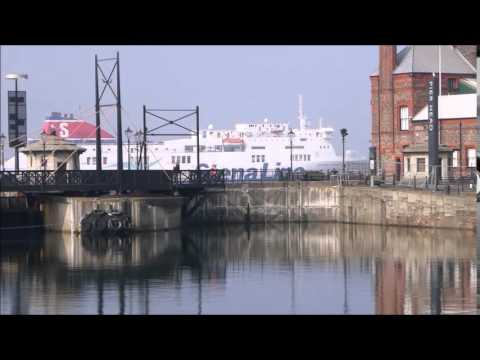 StenaLine ship on the River Mersey passing the Albert Dock, Liverpool