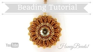 Shiny Rivoli Pendant 2 (The improved version) Beading Tutorial by HoneyBeads1 (Photo tutorial)