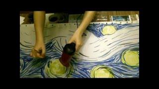 "Painting Scarf ""Stars of Van Gogh."" Free painting."