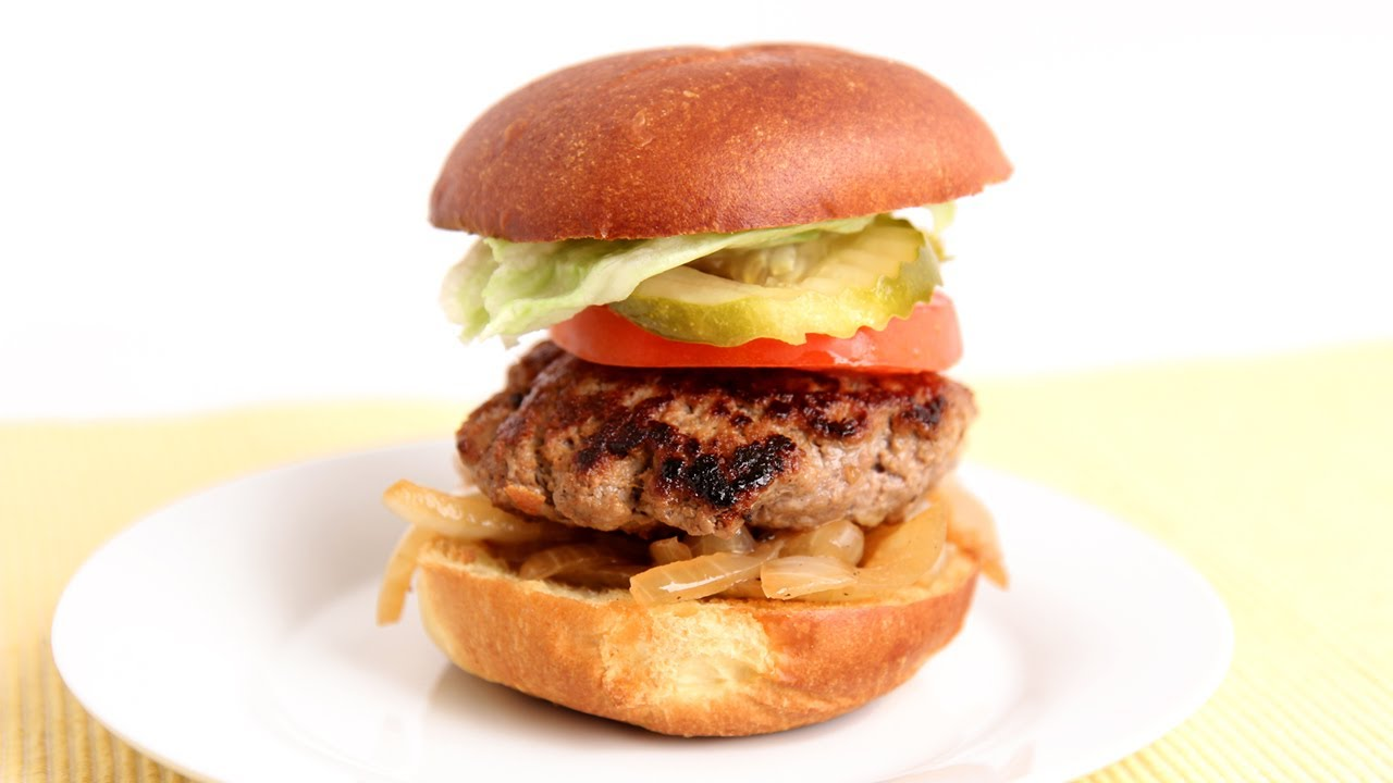 Cheddar Stuffed Burger Recipe - Laura Vitale - Laura in the Kitchen ...