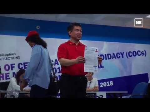 Sen. Koko Pimentel files his COC for May 2019 elections